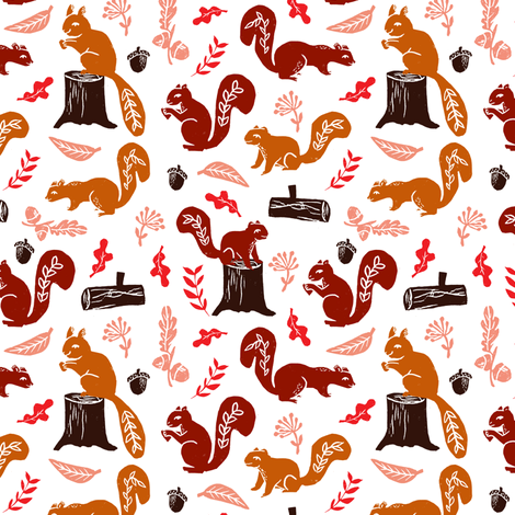 squirrels // nature fall woodland forest kids fall autumn oak acorns leaves leaf cute sweet critters fabric by andrea_lauren on Spoonflower - custom fabric