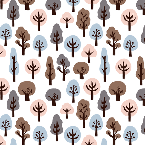 fall trees // autumn soft colors kids khaki baby nursery sweet fall autumn nature trees woodland forest fabric by andrea_lauren on Spoonflower - custom fabric