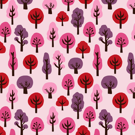 autumn // fall trees pink purple girls fall autumn woodland forest kids cute  fabric by andrea_lauren on Spoonflower - custom fabric