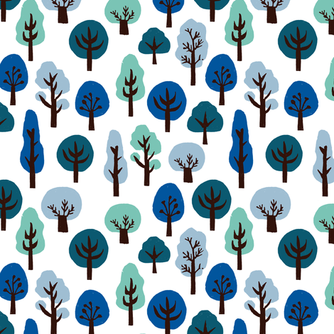 trees // winter forest woodland blue ice cold winter holiday xmas trees fabric by andrea_lauren on Spoonflower - custom fabric