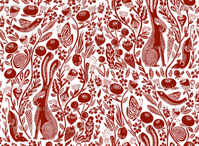 hare fabric// burgundy rabbit linocut block print botanical autumn fall