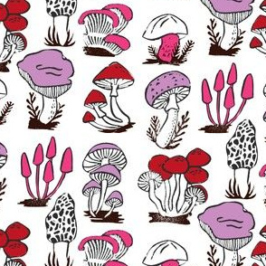 mushrooms // fall autumn mushroom kids linocut stamps girls fall autumn block prints design