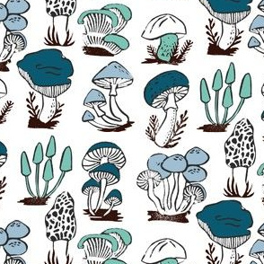 mushrooms // blue green linocut stamp kids blue and green autumn fall nature linocut block print