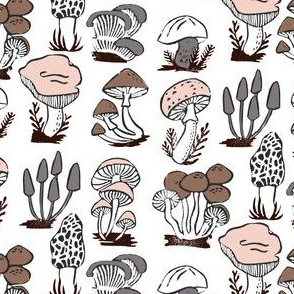mushrooms // nature botanical stamps linocut kids morel fungus outdoors stamps linocut fall autumn