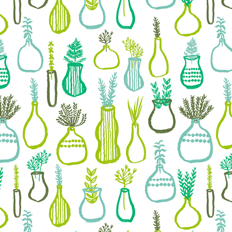 planters // green plants plant decor house plants herbs painted fronds green thumb gardening fabric by andrea_lauren on Spoonflower - custom fabric