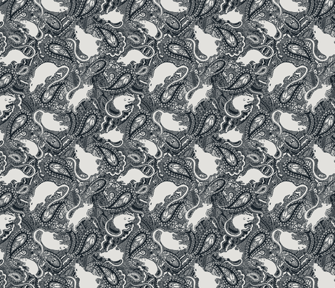 Paisley Rats - V.SMALL - black and silver grey fabric by paisleypower on Spoonflower - custom fabric
