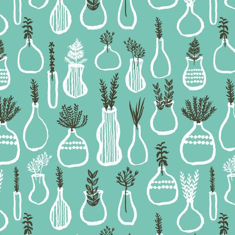 planters // plants green thumb vases plants design green herbs fabric by andrea_lauren on Spoonflower - custom fabric