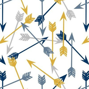 arrows // arrow mustard navy grey blue kids arrows print