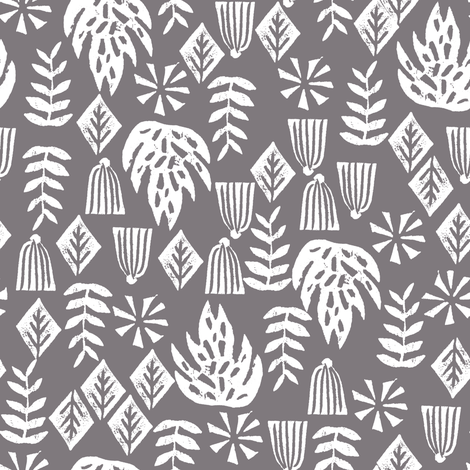 tropical palm print // grey kids summer surf hawaii tropical palm print linocut block prints fabric by andrea_lauren on Spoonflower - custom fabric