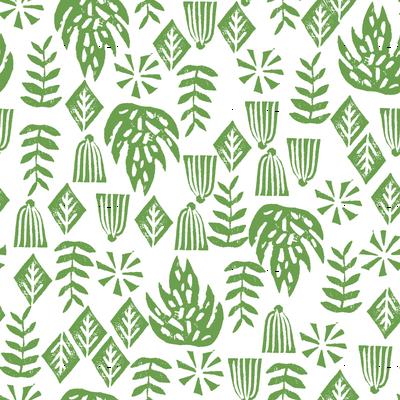 tropical palms // palm print green linocut block print kids tropical leaves leaf monstera surf hawaii 2017