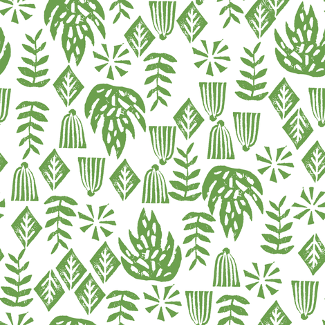 tropical palms // palm print green linocut block print kids tropical leaves leaf monstera surf hawaii 2017 fabric by andrea_lauren on Spoonflower - custom fabric