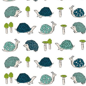 woodland critters // hedgehogs mushrooms snails kids woodland forest animals