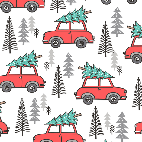 Holiday Christmas Tree Car Woodland Fall on White fabric by caja_design on Spoonflower - custom fabric
