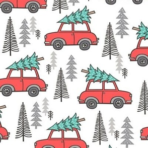 Holiday Christmas Tree Car Woodland Fall on White
