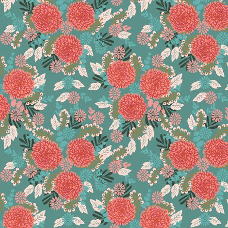 chrysanthemums // mums flowers floral linocut girls sweet flowers fabric by andrea_lauren on Spoonflower - custom fabric