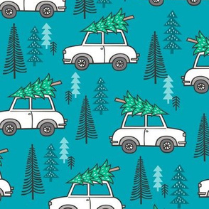 Holiday Christmas Tree Car Woodland Fall on Blue