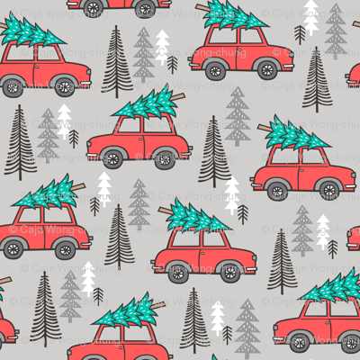 Holiday Christmas Tree Red Car Woodland Fall on Grey