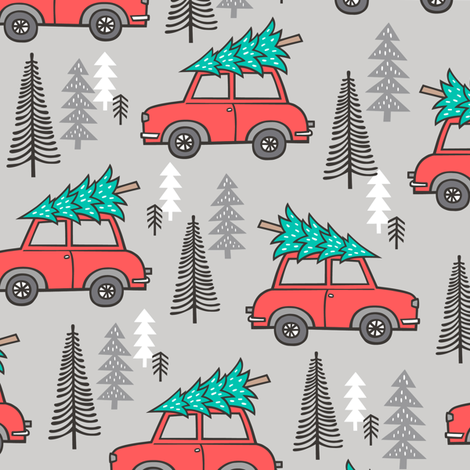 Holiday Christmas Tree Red Car Woodland Fall on Grey fabric by caja_design on Spoonflower - custom fabric