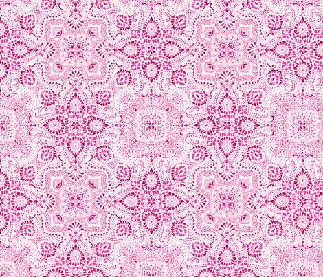 Mosaic Bandana print - SMALL - PInk & White fabric by paisleypower on Spoonflower - custom fabric