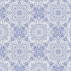 Mosaic // bandana // paisley // SMALL version // white and blue