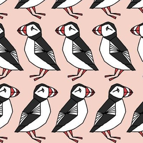puffin // light pink blush girls birds bird cute winter animals winter fabric