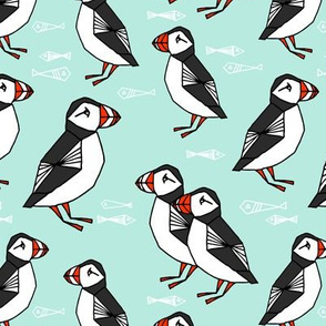 puffin // bird light mint winter kids birds fish animals birds