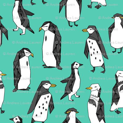 penguins // penguin bird birds winter kids cute birds green bright winter fabric