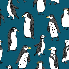 penguin // dark blue penguins kids cute winter fabric penguins pingu