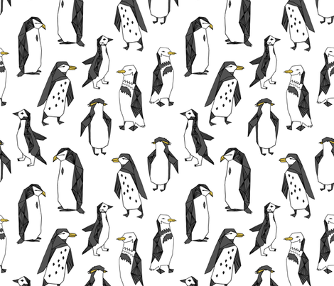 penguins // pingu penguin white winter kids cute winter birds antarctic fabric by andrea_lauren on Spoonflower - custom fabric