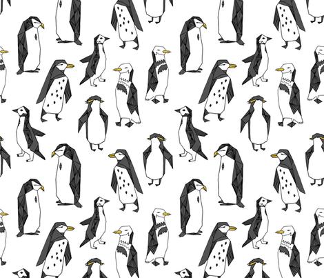 penguins // pingu penguin white winter kids cute winter birds antarctic fabric by andrea_lauren on Spoonflower - custom fabric