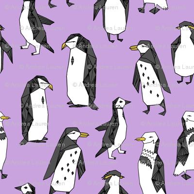 penguins // purple penguin cute bird birds winter cute bird fabric