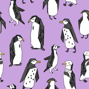 penguins // purple penguin cute bird birds winter cute bird fabric