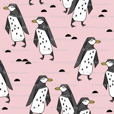penguins // pastel pink cute baby nursery antarctic girls penguin cute winter fabric