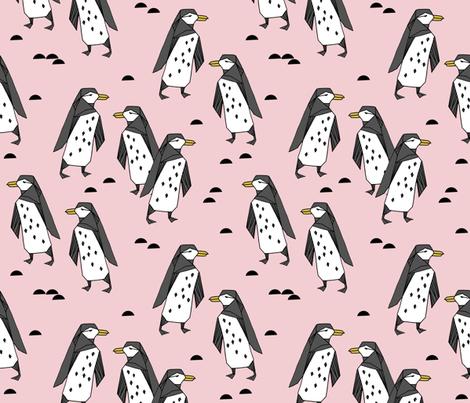 penguins // pastel pink cute baby nursery antarctic girls penguin cute winter fabric fabric by andrea_lauren on Spoonflower - custom fabric