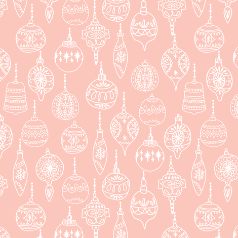 ornaments // pink smaller cute hand-drawn vintage ornaments holiday christmas fabric by andrea_lauren on Spoonflower - custom fabric