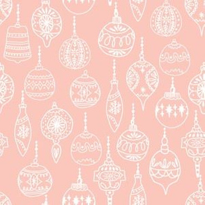 ornaments // pink smaller cute hand-drawn vintage ornaments holiday christmas