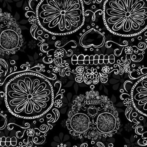 Black and White Skulls and Flowers