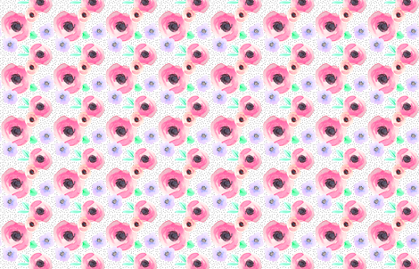 Indy Bloom Design Polka Floral A fabric by indybloomdesign on Spoonflower - custom fabric