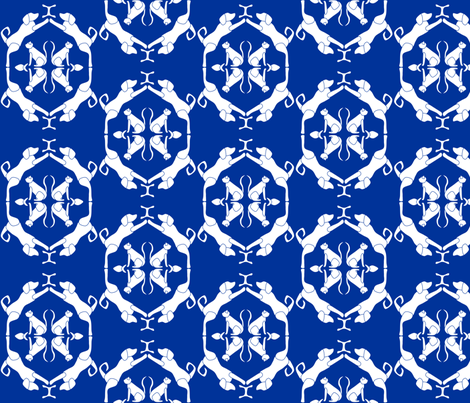 Cat & Dog Damask in Blue fabric by blue_dog_decorating on Spoonflower - custom fabric