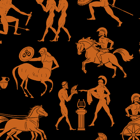 Greek Figures in Orange & Black // Large fabric by thinlinetextiles on Spoonflower - custom fabric