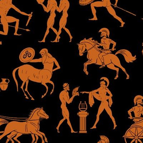 Greek Figures in Orange & Black // Large