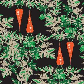 Carrots vegetable food garden gardener Taupe Black Orange_Miss Chiff Designs