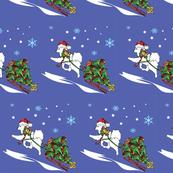 Samoyed Bringing the Holiday Tree