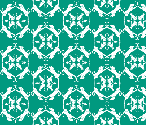 Cat & Dog Damask in Green fabric by blue_dog_decorating on Spoonflower - custom fabric