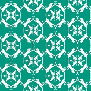 Cat & Dog Damask in Green