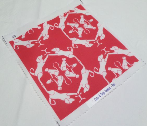 Cat & Dog Damask in Red