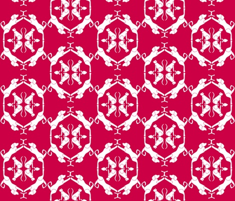 Cat & Dog Damask in Red fabric by blue_dog_decorating on Spoonflower - custom fabric