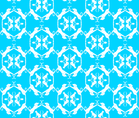Cat & Dog Damask in Aqua fabric by blue_dog_decorating on Spoonflower - custom fabric