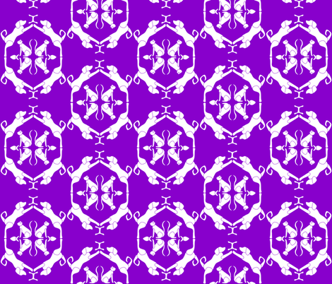 Cat & Dog Damask in Purple fabric by blue_dog_decorating on Spoonflower - custom fabric