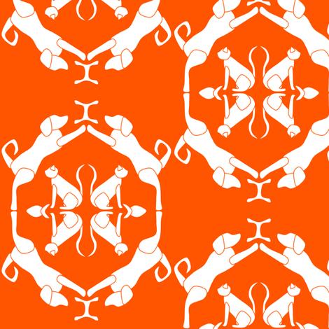 Cat & Dog Damask in Orange fabric by blue_dog_decorating on Spoonflower - custom fabric